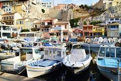 Alter Hafen von Marseille-Vieux-Hafen-Booten Lizenzfreie Stockfotos