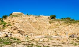 Alter Hellenistic Amphitheatre in Paphos lizenzfreie stockbilder