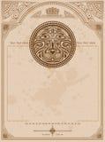 Alter Hintergrund mit Löwekreisaufkleber-Weinlesehintergrund Stockbild