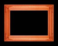 Alter Holzrahmen lokalisiert auf einem schwarzen Hintergrund Lizenzfreie Stockfotos