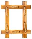 Alter Holzrahmen mit Seil Stockfotografie