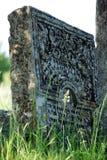 Alter jüdischer Grabstein mit Florenelementen Stockfotos
