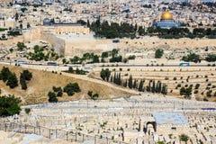 Alter jüdischer Kirchhof auf dem Ölberg in Jerusalem Stockbild