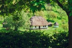 Alter Jerry Houses Between Green Trees, Land-Zauntritt, Natur, Ferien und Rest, getont Stockbild
