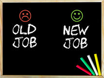Alter Job gegen neue Jobmitteilung mit den traurigen und glücklichen Emoticongesichtern Stockfotos