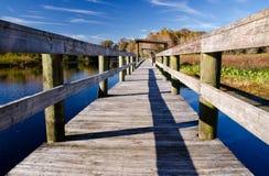 Alter Kai auf einem Frischwassersee, Florida Stockbilder