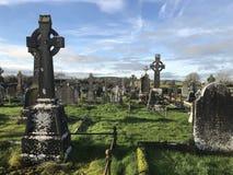 Alter keltische Kreuz-Stand in ihrem Ruhm Stockfotografie