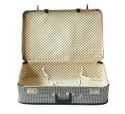Alter Koffer geöffnet getrennt über Weiß Lizenzfreie Stockfotos