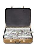 Alter Koffer voll Geld Stockbild