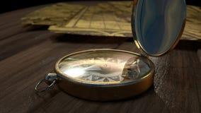 Alter Kompass auf Wodden-Boden stockfotos
