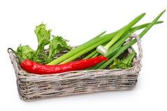 Alter Korb mit grünen Zwiebeln, frischer Kopfsalat Stockbild