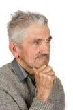 Alter Landwirt auf Weiß Lizenzfreies Stockfoto