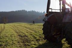 alter Landwirt, der Gras harkt Lizenzfreies Stockfoto