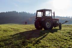 alter Landwirt, der Gras harkt Stockbilder