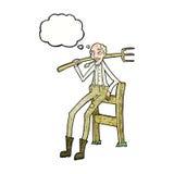 alter Landwirt der Karikatur, der auf Zaun mit Gedankenblase sich lehnt Lizenzfreies Stockfoto