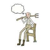 alter Landwirt der Karikatur, der auf Zaun mit Gedankenblase sich lehnt Lizenzfreie Stockbilder