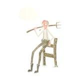 alter Landwirt der Karikatur, der auf Zaun mit Gedankenblase sich lehnt Lizenzfreie Stockfotografie