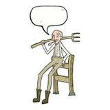 alter Landwirt der Karikatur, der auf Zaun mit Spracheblase sich lehnt Lizenzfreie Stockfotos