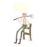 alter Landwirt der Karikatur, der auf Zaun mit Spracheblase sich lehnt Stockbild