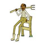 alter Landwirt der komischen Karikatur, der auf Zaun sich lehnt Stockfotografie