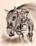 Alter Landwirt mit einem Pferd Stockfotografie