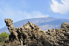 Alter Lavafluss auf Vulkan Ätna Stockfotografie