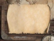 Alter leerer Kartenhintergrund und -kompaß Binokel auf der Bootsstrichleiter auf Wasserhintergrund Abbildung 3D Lizenzfreie Stockbilder