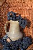 Alter Lehmweinkrug umgeben durch Bündel der blauen Traube und Weinproduktionsemblem Lizenzfreies Stockbild