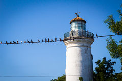 Alter Leuchtturm mit Vögeln auf Draht Stockfoto