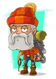 Alter müder bärtiger Bergsteiger der Karikatur vektor abbildung