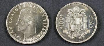 Alter Münze König Juan Carlos I Stockfotografie