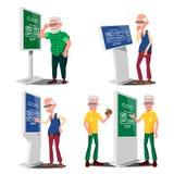 Alter Mann, der ATM, Digital-Terminalvektor verwendet set Lcd-digitale Beschilderung für die Innenanwendung Wechselwirkender info stock abbildung