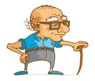 Alter Mann, der auf hölzernem Stock sich lehnt Stockbilder
