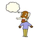 alter Mann der Karikatur, der in der Überraschung mit Gedankenblase keucht Lizenzfreie Stockfotografie