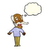 alter Mann der Karikatur, der in der Überraschung mit Gedankenblase keucht Stockbilder