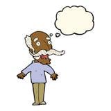 alter Mann der Karikatur, der in der Überraschung mit Gedankenblase keucht Stockfotos