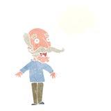 alter Mann der Karikatur, der in der Überraschung mit Gedankenblase keucht Lizenzfreie Stockbilder