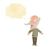 alter Mann der Karikatur, der in der Überraschung mit Gedankenblase keucht Lizenzfreie Stockfotos
