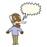 alter Mann der Karikatur, der in der Überraschung mit Spracheblase keucht Lizenzfreie Stockfotos