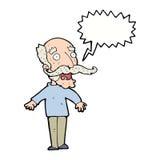 alter Mann der Karikatur, der in der Überraschung mit Spracheblase keucht Stockbild