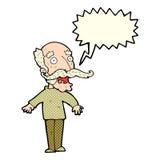 alter Mann der Karikatur, der in der Überraschung mit Spracheblase keucht Stockfotografie