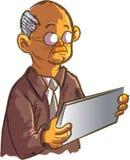 Alter Mann der Karikatur, der eine Tablette verwendet Stockfotografie
