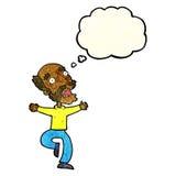 alter Mann der Karikatur, der einen Schrecken mit Gedankenblase hat Stockfoto