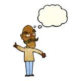 alter Mann der Karikatur, der Geschichte mit Gedankenblase erzählt Lizenzfreies Stockfoto