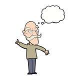 alter Mann der Karikatur, der Geschichte mit Gedankenblase erzählt Lizenzfreie Stockfotografie