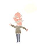 alter Mann der Karikatur, der Geschichte mit Gedankenblase erzählt Stockbild