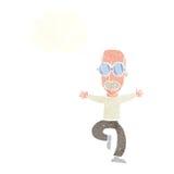 alter Mann der Karikatur, der große Gläser mit Gedankenblase trägt Lizenzfreie Stockbilder