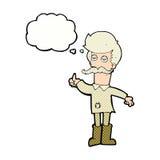 alter Mann der Karikatur in der schlechten Kleidung mit Gedankenblase Stockfotos