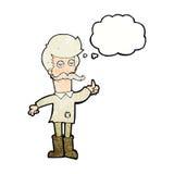 alter Mann der Karikatur in der schlechten Kleidung mit Gedankenblase Lizenzfreie Stockfotografie