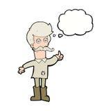 alter Mann der Karikatur in der schlechten Kleidung mit Gedankenblase Stockfotografie